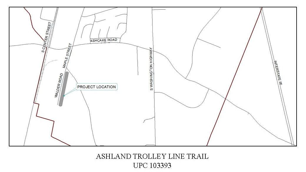 map showing project location of Ashland Trolley Line Trail